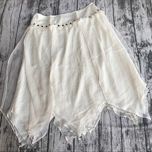💎 Silk Due Per Due Ivory Lind Peasant Skirt 10